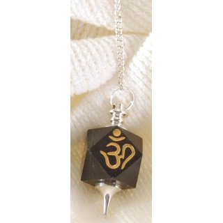 Black Agate Cube Pendulum with OM