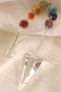 Clear Quartz Pendulum with Chakra Chain