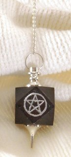 Black Tourmaline Cube Pendulum with Pentagram