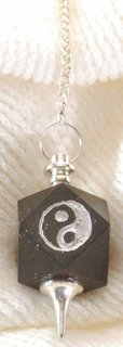Black Tourmaline Cube Pendulum with Yin Yang