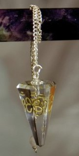Clear Quartz Pendulum faceted with OM